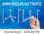 Small photo of Hand with pen drawing the chemical formula of ammonium nitrate