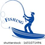 silhouetted fisherman with a...   Shutterstock . vector #1651071496