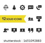 support icons set with support...