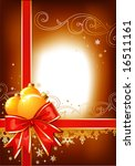 Christmas decoration / bow and balls / vector/ with copy space - stock vector