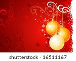 Christmas background / balls and ornament / vector illustration - stock vector