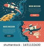 rocket fly around moon  ... | Shutterstock .eps vector #1651132630