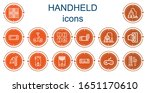 Editable 14 handheld icons for web and mobile. Set of handheld included icons line Game, Vacuum, Console, Handheld, Joystick