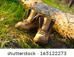 Pair Of Trekking Boots In Sunny ...