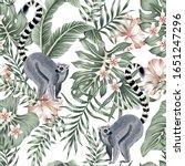 tropical vintage animal lemur ... | Shutterstock .eps vector #1651247296