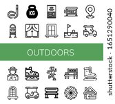 Set of outdoors icons. Such as Golf stick, Bus stop, Kettlebell, Window, Marshmallow, Golf, Golf cart, Ranger, Ice skate, Bench, Ice skating, Cabin , outdoors icons
