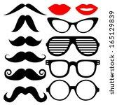 vector set of hipster mustache...   Shutterstock .eps vector #165129839