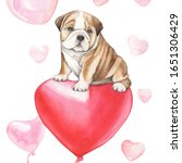 cute puppy flying on a red... | Shutterstock . vector #1651306429