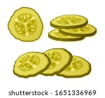 pickled cucumber slice isolated ... | Shutterstock .eps vector #1651336969