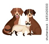 group of dogs with cat isolated ... | Shutterstock .eps vector #1651420333