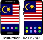 two black smartphones with a... | Shutterstock .eps vector #1651449700