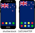two black smartphones with a... | Shutterstock .eps vector #1651464709