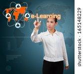 woman showing  e learning... | Shutterstock . vector #165148229