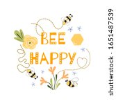 be happy quote funny print cute ... | Shutterstock . vector #1651487539