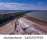 Small photo of Amazing beauty of drying Сurortnoe estuary from bird's flight. Top view of coastal zone of ecological reserve Curortnoe estuary, Odessa, Ukraine. Aerial view from drone to sea estuaries in suburban