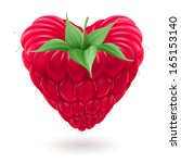 Fresh raspberry with green leaves in the shape of heart on white background. - stock vector