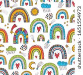 cute seamless pattern with...   Shutterstock .eps vector #1651554973