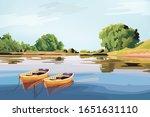 Small Boats And Beautiful Lake...