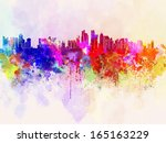 Stock photo doha skyline in watercolor background 165163229