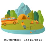 hiking and outdoor recreation... | Shutterstock .eps vector #1651678513