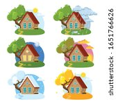 Vector Set Of Cute Wooden House ...