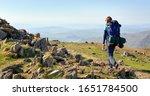 a hiker backpacking  walking in ... | Shutterstock . vector #1651784500