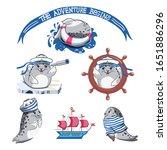 cute sailor  vector cartoon set.... | Shutterstock .eps vector #1651886296