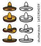sombrero set. collection icon... | Shutterstock .eps vector #1651904059