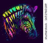 zebra.  abstract  neon ... | Shutterstock .eps vector #1651960189