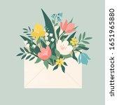 bouquet of spring flowers... | Shutterstock .eps vector #1651965880