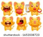 set of cute cartoon emoticon... | Shutterstock .eps vector #1652038723