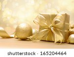 Gold Christmas Gift Box With...