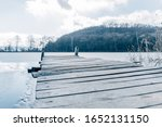 Old Wooden Pier On Small Froze...