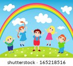 children rejoice to a rainbow.... | Shutterstock . vector #165218516