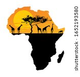 map of africa. safari sunset... | Shutterstock .eps vector #1652193580