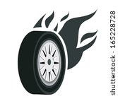 a black tire with white steel... | Shutterstock .eps vector #165228728