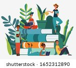 young people reading books in... | Shutterstock .eps vector #1652312890