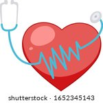 big red heart with stethoscope... | Shutterstock .eps vector #1652345143