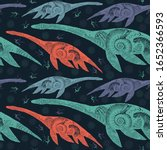 Plesiosaur. Seamless Pattern....