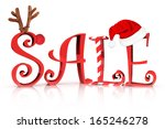 Christmas Holiday Sale. Sale in text with Reindeer , candy cane and Santa hat accents on a white background. - stock photo