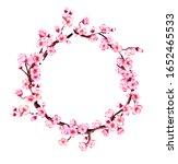 watercolor floral sakura frame. ...   Shutterstock . vector #1652465533