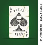 ace of spades with skull poker... | Shutterstock .eps vector #1652541886