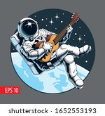 Astronaut Playing Guitar In...