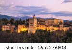 alhambra palace at sunset ... | Shutterstock . vector #1652576803