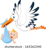 cartoon stork carrying baby | Shutterstock .eps vector #165262340