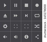 vector black media player icons ... | Shutterstock .eps vector #165278000
