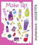 colorful hand drawn cosmetic... | Shutterstock .eps vector #165287576