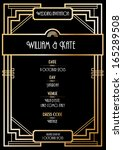 art deco wedding invitation... | Shutterstock .eps vector #165289508