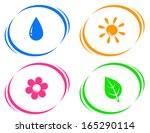round icons with water drop ... | Shutterstock .eps vector #165290114