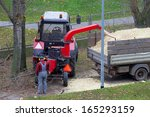 worker putting tree branches... | Shutterstock . vector #165293159